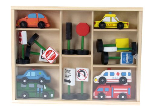 Wooden Toys Traffic Set Box