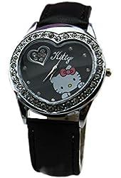 U-beauty Black Hello Kitty Fashion Lady Wrist Watch Heart Shaped Watches