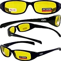 New Attitude Stylish Shiny Black Frame Yellow Lenses Sport Eyewear