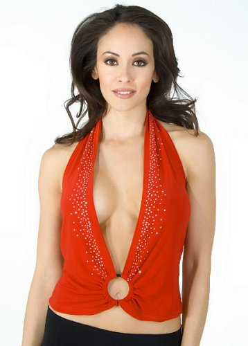 Buy Low Cut Plunging Studded Halter from Hot Fash Tops – MIRAGE Red