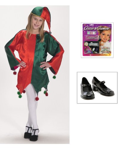Satin Jingle Elf Child Costume(4-8), Child Shoes in (11-12), Glitter Make-up Kit