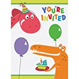 Unique Dinosaur Party Invitations (8 Count), Multicolor