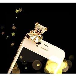 MiniSuit Cute Teddy Bear Dust Plug Charm for mobile phones -Crystal Gold
