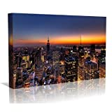 New York at Dusk Framed Canvas Art Print - Wall Art - Contempoary Art - Gallery Wrapped Framed Ready to Hang 40cm x 80cm
