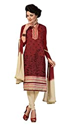 Shree Vardhman Maroon Chanderi Straight Dress Material