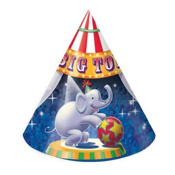 Big Top Cone Hats (8) Party Accessory - 1
