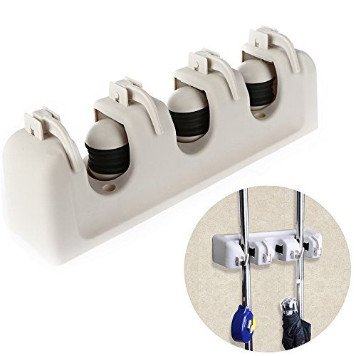 Awkli Mop and Broom Holder, Multipurpose Wall Mounted Organizer Storage Solutions for Broom Holders, Garage Storage Systems (3-position,4hooks) (Broom Holder Commercial compare prices)