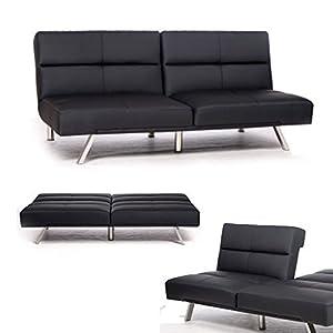 NEG Lounge Schlafsofa/Klappsofa ZELOS, Sofa mit superbreiter Liegefläche (110 cm), mittig klappbar - schwarz