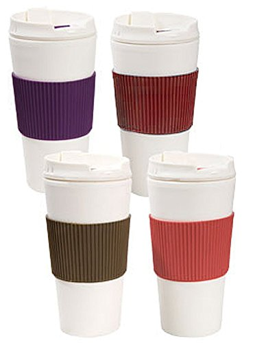 Double Wall Travel Mugs With Non Slip Sleeves  Oz