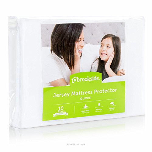 Find Bargain BROOKSIDE Soft Jersey Mattress Protector - Waterproof and Dust Mite Proof - Queen