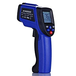 ANGGO Non-contact Digital Infrared Thermometer Temperature Gun with EMS Adjustable (-58 °F to 1292°F)