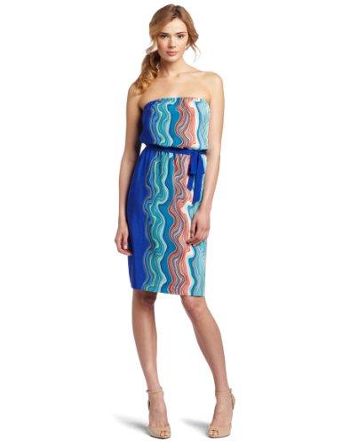 Trina Turk Women's Ios Wave Print Dress, Deep Sea, 10