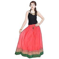 Kiran Udyog Rajasthani Ethnic Red Pure Cotton Skirt 600