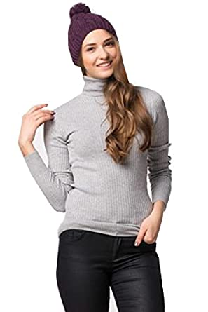 NEW WOMEN'S STRETCHY ROLL-NECK LONG-SLEEVE COTTON PLAIN TOPS(XX-LARGE, Grey) **SAME DAY POSTING**