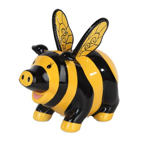 PTC StealStreet 9879 Ceramic Bumble Bee Savings Piggy/Coin/Money Bank, 6.50""