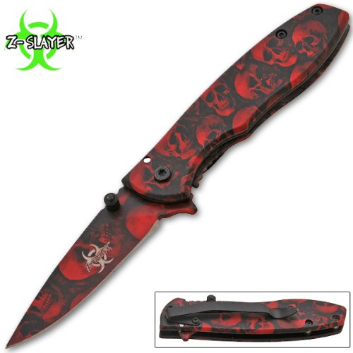 Z-Slayer Trigger Assisted Knife - Undead Zombie Survival - 6.75 Inches Overall Length - Red Skulls Blade and Handle