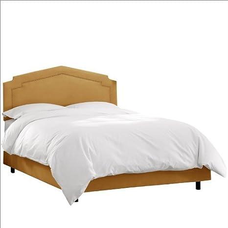 Skyline Furniture Inset Nail Button Bed Frame in Upholstered Velvet California King MystereMoccasin