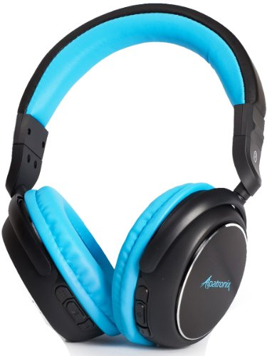 Alpatronix Hx100 High Performance Bluetooth Stereo Headphones With Built-In Microphone & Rechargeable Headset For Hands Free Calling & Wireless Audio Streaming (Includes Playback & Volume Controls) - Blue/Black