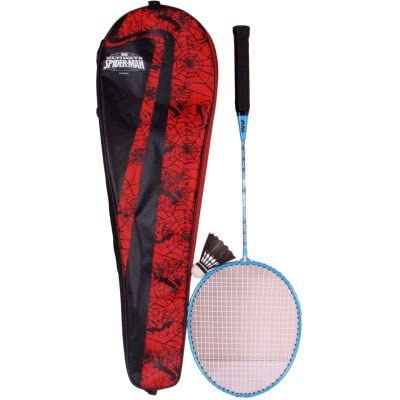 Disney Spiderman Combo Badminton Racquet, Junior G4 (Red)
