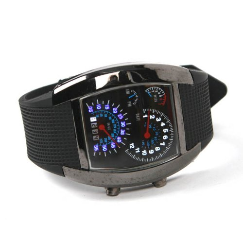 Shot-in Creative LED Watch Sector Sports Car Meter Dial Men Wrist Watch