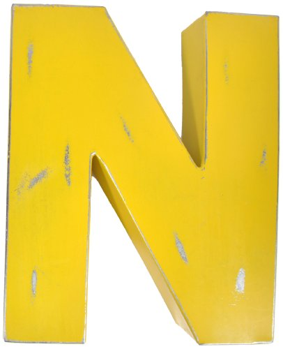 Found Object Sansarif 12-Inch Solid Letter Wall Hanging, Capital N, Yellow