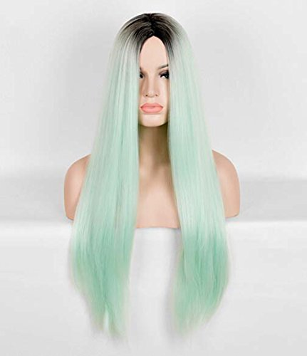 [Jooyi 30Inches Light Green Omber Long Straight Wigs Japan Harajuku Cosplay Glamous Wigs Full Hair Wig (Mint] (Lavender Marie Antoinette Wig)
