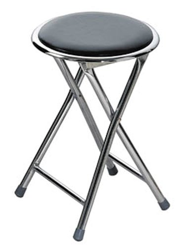Premier Housewares Round Shaped Folding Stool with Chrome Frame - 45 x 30 x 30 cm - Black