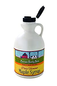 Brown Family Farms Pure Vermont Maple Syrup, Grade A, Amber Color, Rich Taste, 32-Ounce