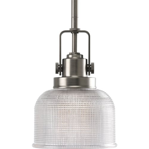 Progress Lighting P5173-81 Archie-One Light Pendant, Antique Nickel Finish with Prismatic Glass