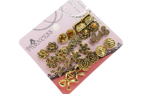 Antique Gold Tone Crystal Vintage Fashion Jewelry Stud Earrings, Pack of 12 (C)