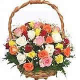 Indian Gift Emporium Lovely Mix Fresh Roses Flower Basket (Bunch of 35)