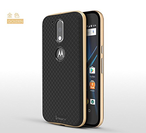 hot sale online 3fb71 f3968 Ntron Original iPaky Brand Luxury High Quality Ultra-Thin Dotted Silicon  Back + PC Gold Frame Bumper Back Case Cover for Motorola Moto G4 Plus /  Moto ...
