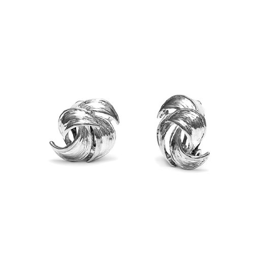 Rodney Holman Rhodium Plated Vintage Petal Clip On Earrings