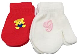 Two Pairs Magic Stress Mittens for Ages 0-24 Months with Monogram Letters