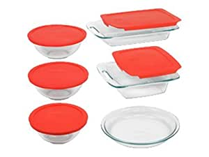 Pyrex Easy Grab 11-Piece Glass Bakeware and Food Storage Set