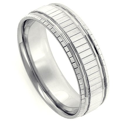 6.00 Millimeters White Gold Wedding Band Ring 10Kt Gold, Comfort Fit Style SE3659W6 by Wedding Rings by Oromi, Finger Size 8