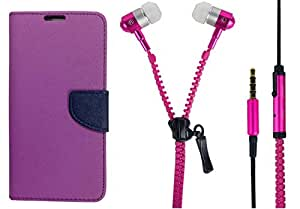 Novo Style Book Style Folio Wallet Case MicromaxCanvas NitroA310 Purple + Zipper Earphones/Hands free With Mic 3.5mm jack