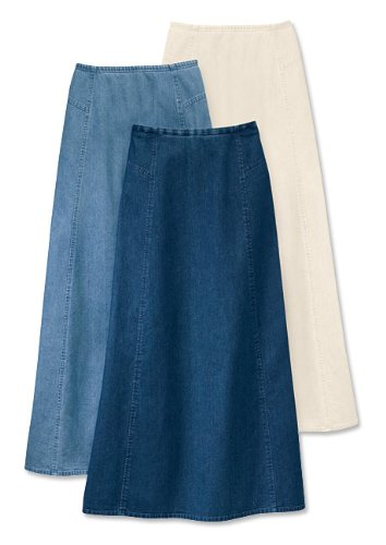 Vintage Denim Side-yoke Skirt / Petite, Stone, 12