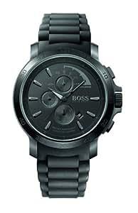 Hugo Boss - 1512393 - Montre Homme - Quartz Analogique - Cadran Noir - Chronographe - Bracelet Caoutchouc Noir