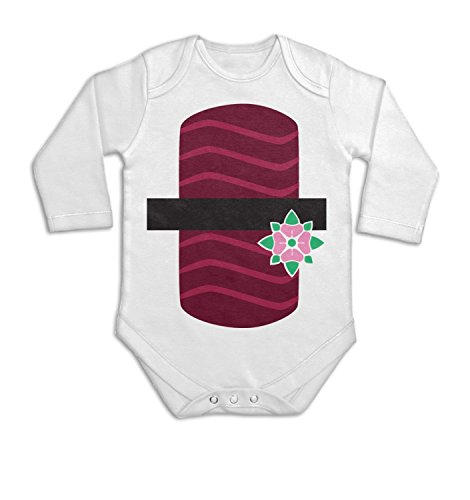 [Tuna Sushi Costume Long Sleeve Baby Grow - White 0/3 Months] (Baby Sushi Costumes)