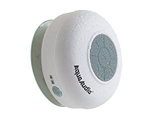 AquaAudio Mini Ultra Portable Waterproof Bluetooth Wireless Stereo Speakers with Suction Cup for Showers, Bathroom, Pool, Boat, Car, Beach, Outdoor etc. | For All Devices with Bluetooth Capability + Siri Compatible - 6 Hours Playtime / with Built-in Mic for use as a Powerful Handsfree Speakerphone (White)