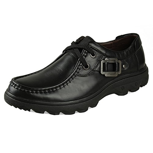 WALK-LEADER, Scarpe stringate uomo, Nero (Black), 42.5