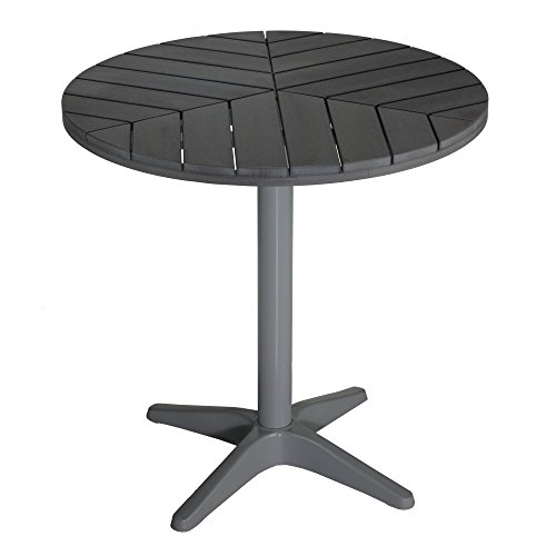 Jaxon Round Aluminum Outdoor Bistro Table in Poly Wood, Silver / Slate Grey (Welcome To Last Ch compare prices)