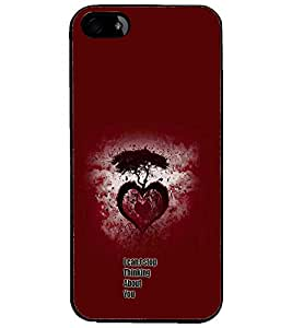 PrintDhaba Heart with Quote D-1158 Back Case Cover for APPLE IPHONE 5S (Multi-Coloured)