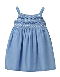 Beebay Infant-girl 100% Cotton Woven Blue Chambray Smocked Dress (D0716125300234_Blue_2-3 Years)