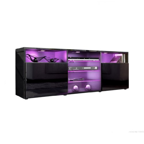 TV Stand Unit Granada in Black / Black High Gloss Black Friday & Cyber Monday 2014