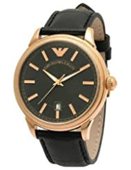 Emporio Armani Leather Collection Quartz Black Dial Men's Watch - AR0578