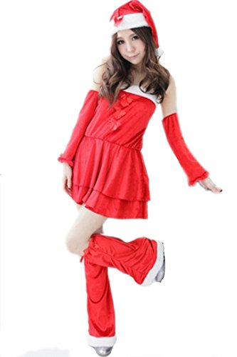 Pink Queen Womens/Girls Cute Christmas Outfits Miss Santa Claus Costume Dress