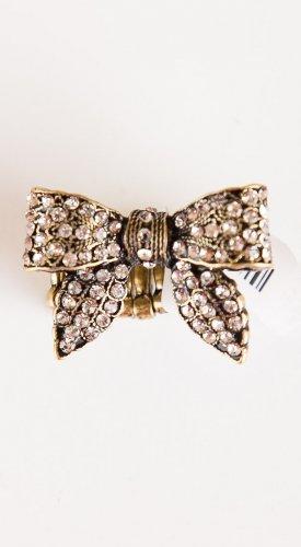 Zad Jewelry Rhinestone Bow Stretch Ring (R4709) - Gold