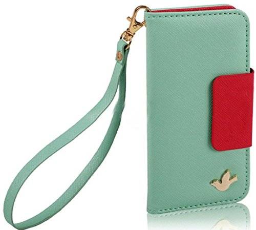 Mylife Mint Green + Crimson Red - Modern Design - Textured Koskin Faux Leather (Card And Id Holder + Magnetic Detachable Closing) Slim Wallet For Iphone 5/5S (5G) 5Th Generation Smartphone By Apple (External Rugged Synthetic Leather With Magnetic Clip + I
